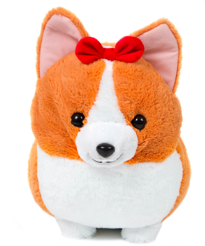 cute plush baby corgi with red bow