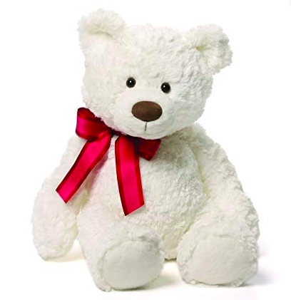 white plush teddy bear with a red tie