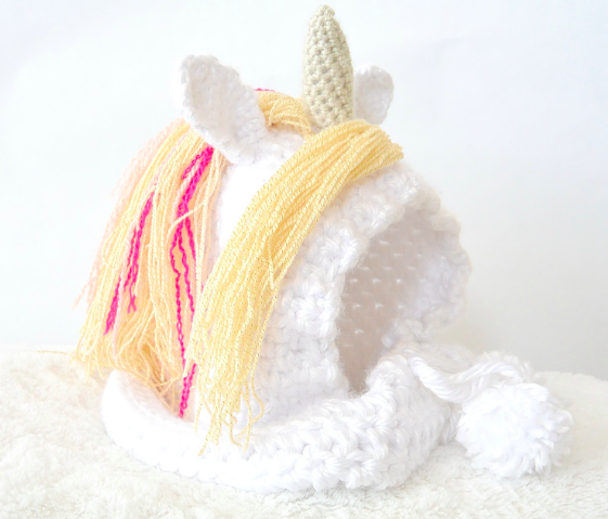 plush crochet unicorn hat